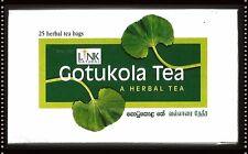 Gotu Kola Gotukola 100% Natural Herbal 25 TEA BAGS Ceylon IMPROVE MEMORY & MIND