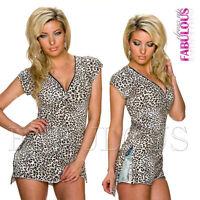New Sexy Women's Ladies Leopard Animal Print Summer Top Shirt Size 8 10 12 S M L