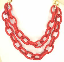Red Links Necklace Gold Tone Resin Plastic Iris Apfel Style Statement