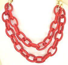 1776ad961bbd Rojo Eslabones Collar Dorado Resina Plástico Iris Apfel Estilo Llamativo