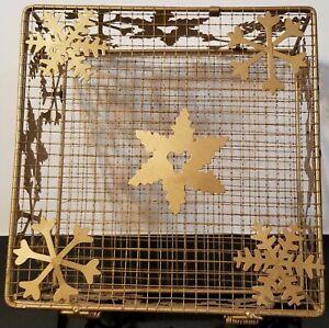"Vintage Wire Metal Box Basket - Gold Tone - Snow Flakes -  6.75"" X 6.75"" X 3.25"""