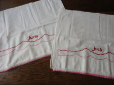 2 Vintage Hand Embroidered Pillowcases , His & Hers , Hand Crochet Edge