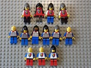 LEGO - 13 x VINTAGE ROYAL CASTLE KNIGHT MINIFIGURES WITH SHIELDS & WEAPONS -