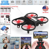 FPV RC Mini WiFi Drone Quadcopter HD Camera Aircraft LED Helicopter Toy+3Battery