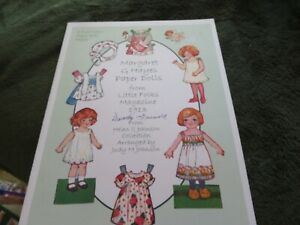 reproduction Margaret G Hayes Paper Dolls from Little Folks Magazine 1913 uncut