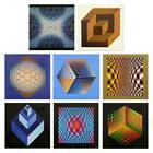 "Victor Vasarely-""Structures Universelles de L'hexagone""-8 Heliogravure Prints"