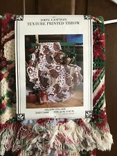 Vntage Crown Crafts Christmas Throw Holiday Collage Woven Tapestry Blanket 48x60
