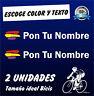 PEGATINAS (2) BANDERA REPUBLICA ESPAÑA CON NOMBRE -VINILO BICI BIKE -REPUBLICANA