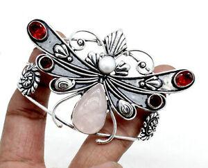 Rose Quartz & Garnet Gemstone Handmade Silver Plated Jewelry Cuff Bracelet S-7-8