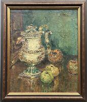 Ölgemälde Stillleben mit Porzellandkanne und Obst Art-Deco 1932 B.S.W. Monogramm