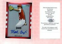 MACK ANGLIN 2018 Leaf Metal Perfect Game Pre-Production Prismatic Red 1/1 Auto