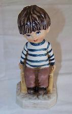 Vintage Figurine 1971: MOPPETS - Fran Mar - Boy sitting on Wooden Crate