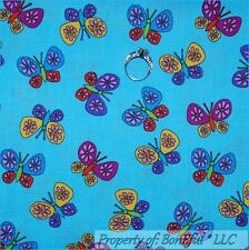 BonEful Fabric FQ Cotton Quilt Aqua Blue Pink Purple Rainbow Butterfly Sm Flower