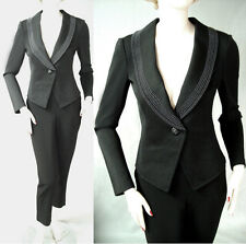 $1690 NWT ST JOHN BEADED FITTED PANT SUIT CAVIAR KNIT/CREPE sz 4   SALE