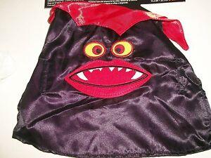 "Dog Vampire Satin Cape Pet Halloween Costume Black Red Fangs Size XXS 6"" - 8"""