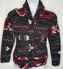 Ralph Lauren Black Red Aztec Navajo Shawl Neck Cardigan Sweater size M