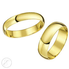 9ct Yellow Gold Rings His-Hers 3mm & 6mm D Shape Solid Wedding Bands Hallmarked