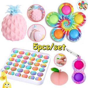 5x Bubble Popit Fidget Toys Set Stress Relief ADHD Bundle Tools Games Kids Gifts