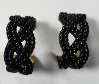 Vintage Screw-Back Earrings - Black Seed Beads Braided / Braids  / Beaded Hoops
