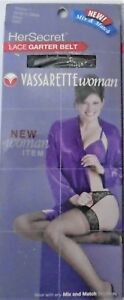 VASSARETTE – SEXY BLACK LACE GARTER BELT - REGULAR M/L or PLUS WOMAN 1 –NIB $20