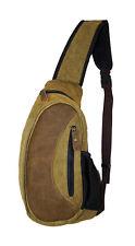 Mens Sling Backpack Shoulder Bag Leather Messenger Brown Suede Sling