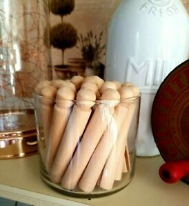 Lot of 26 Wood Clothespins In Glass Jar ~ Farmhouse Décor