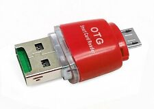 2 in 1 Micro USB 2.0 OTG Adapter + Micro SD TF Card Reader For PC Samsung - Red