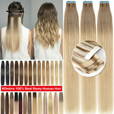 Russian Tape Stick In Skin Weft Remy Human Hair Extensions Full Head Thick HT486