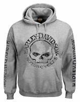 Harley-Davidson Men's Hooded Sweatshirt, Willie G Skull, Gray Hoodie 30296654