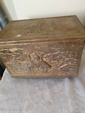 Vintage Coal/ Log Box embossed Brass Overlay