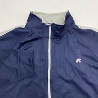 Russell Dri-Power Track Jacket Men's 2XL XXL Long Sleeve Dark Navy Full Zip