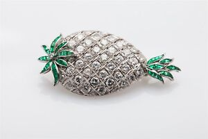 Antique 1940s $12,000 7ct VS G Diamond Emerald Platinum PINEAPPLE Brooch Pin