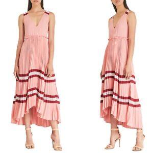 NWT Maje Pink Ritello Pleated Midi Dress