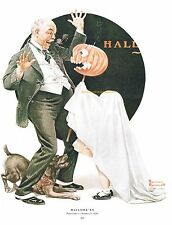 "Norman Rockwell trick or treat print ""HALLOWEEN GHOST"" 11"" x 15"" goblins witch"