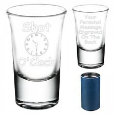 "Engraved ""Shot O'Clock"" Shot Glass For Her Birthday Christmas Gift 083"