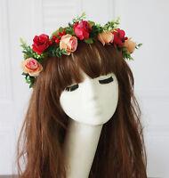 Women Red Rose flower Green Leaf wedding bride Party Hair Headband Crown Garland