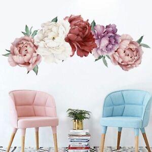Wall Sticker Resistant Nursery Peony Rose Big Flowers Decal Adhesive Home Decor