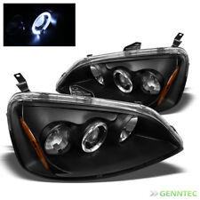 For 2001-2003 Honda Civic 2/4 Door Halo Projector Black Headlights Lamp Pair