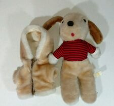 "Avon Brown Puppy Dog Red Zipper Jacket Red Striped Shirt White 12"" Plush Stuffed"