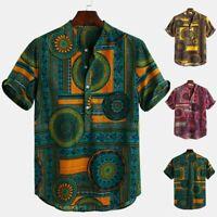 Mens Cotton Linen Printed Short Sleeve Casual Henley Shirts Tie Dye Summer Top