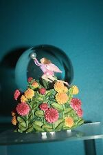 Fairy and Dahlias Rotating Muscial Waterglobe with Mulit-Colored Glitter