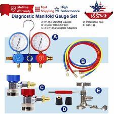 Hvac Ac Ac R12 R22 R134a R410a Refrigeration Kit Manifold Vacuum Gauge Set Hose