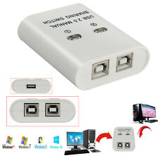 2 Ports USB 2.0 Manual Share Switch- 2Way Port Splitter 1 Printer Device to 2PCs