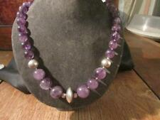Beautiful Vintage Quality Real Natural Amethyst Bead & Solid Silver Necklace