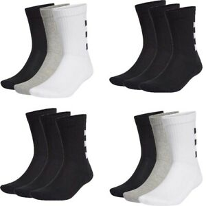 Adidas Mens Womens Crew Socks 3 Pairs Cushioned Sock Black Multi Pack Size