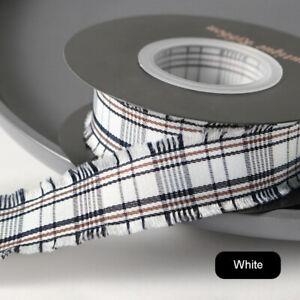 JK Fringed Edge Check Ribbon Polyester Tartan - 2.5cm x 10 Yards - 10 Colors