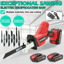 Rechargeable 21V Cordless Reciprocating Saw & 2 Battery & AU Charger & 8* Blades