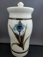 Beautiful artisan made pottery hand painted jar with lid signed