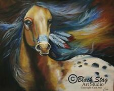Native American War Horse Colourful painting Original Acrylic  animals pet