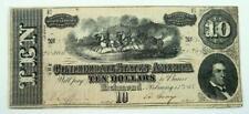 1864 Confederate States of America $10.00 / Ten Dollars Richmond Note